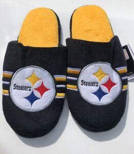 3159fb91512e Image is loading Pittsburgh-Steelers-Plush-Big-Logo-Stripe-Slippers-NFL-
