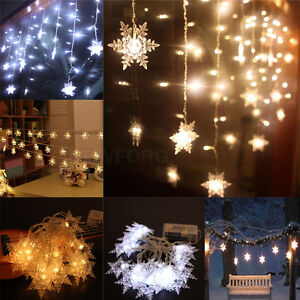 20 led christmas snowflake fairy string lights garden wedding party image is loading 20 led christmas snowflake fairy string lights garden aloadofball Gallery