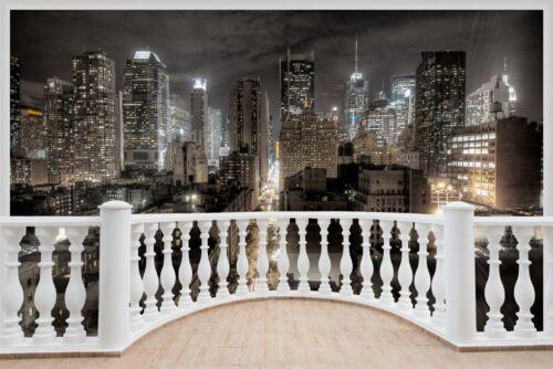 Huge 3D Balcony Fantasy New York City Wall Stickers Wallpaper Mural 684 101x 104