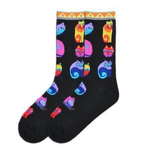 NWT-Laurel-Burch-Feline-Festival-Crew-Socks-Black