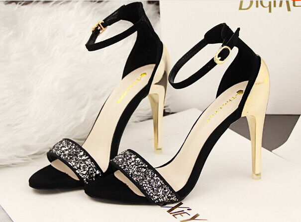Elegante Sandalia Stiletto Tacón de Aguja 10cm Moda en Negro 8667