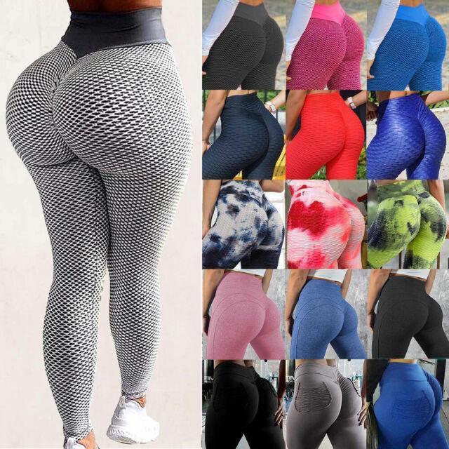 Women Anti-Cellulite Yoga Pants High Waist PUSH UP Leggings Textured Fitness Y1