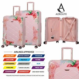 Aerolite-55cm-Hard-Shell-4-Wheel-Travel-Hold-Luggage-Cabin-Bag-Cases-Rose-Blush