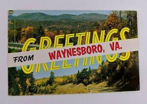 Postcard-Greetings-from-Waynesboro-Virginia-Banner-Nature-Landscape