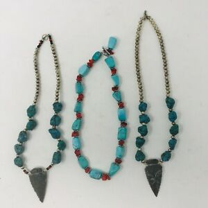 3-Southwestern-Unisex-Necklaces-Turquoise-Coral-Onyx-Silver-Arrowhead-Eagle