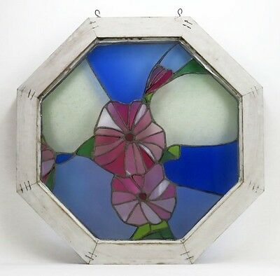 Post 1940's Stained Glass Window-Octagonal Wooden Frame-w/Blues,Purple,Red,Grn