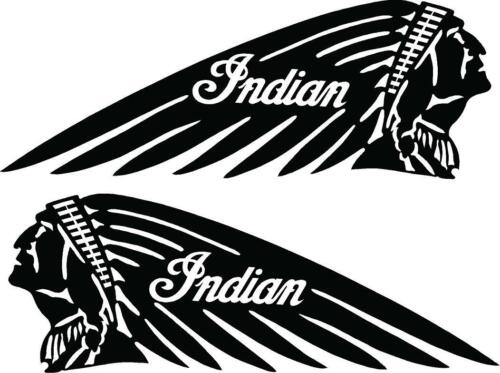 INDIAN HEAD MOTORCYCLES VINYL DECALS BLACK SET OF 2 LARGE