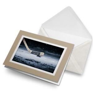 Greetings-Card-Biege-Hockey-Stick-amp-Puck-Ice-Rink-3352