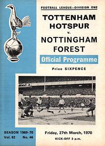 196970 Tottenham Hotspur v Nottingham Forest Division 1 PERFECT CONDITION - Peterborough, Cambridgeshire, United Kingdom - 196970 Tottenham Hotspur v Nottingham Forest Division 1 PERFECT CONDITION - Peterborough, Cambridgeshire, United Kingdom