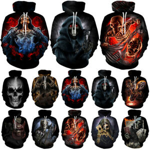 Mens-Womens-Skull-3D-Print-Hoodie-Sweatshirt-Pullover-Jumper-Hooded-Coat-Tops