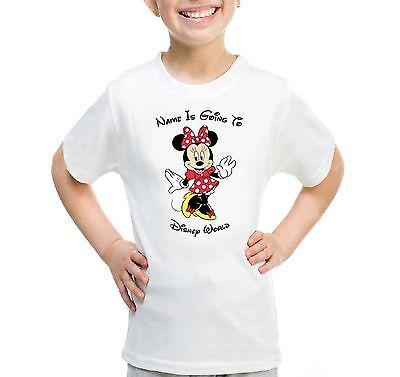 Praktisch Personalised Red Minnie Mouse Kids T-shirt Your Name Is Going To Disney World Reich Und PräChtig