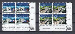 Switzerland-1952-53-Simplontunnel-Lotschbergbahn-Block-of-Four-Set-Oo