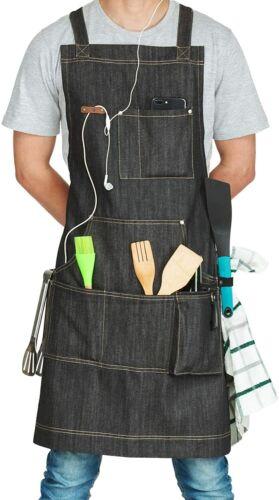 Adjustable Denim Work Apron for Men /& Women fjackets Chef Apron