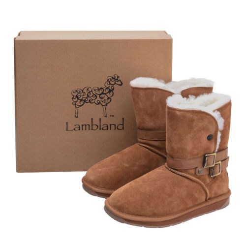 Tan Wearing Boot Hard Womens Sole Genuine Ladies Real Belt Detail Sheepskin 86v4fOqOw
