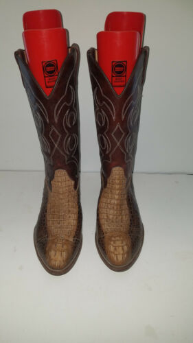 Men's White Horse Size 9 D Brown Cowboy Boots