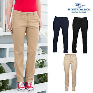 Front-Row-Women-039-s-Tag-Free-Stretch-Chinos-FR622-Casual-Work-Business-Trouser