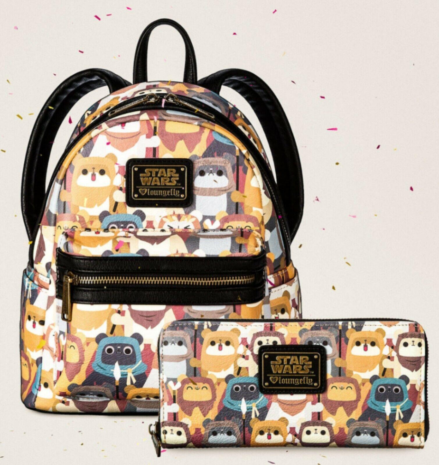 2020 Disney Loungefly Star Wars Ewok Forest Wicket Mini Backpack NWT