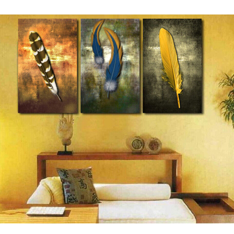 INDIAN FEATHERS 3 PANEL CANVAS WALL ART  BRAND NEW