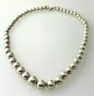 Authentic Tiffany Co Sterling Silver Graduated Bead Necklace Ebay