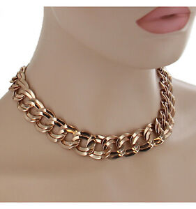 """Ky & Co USA Rose Gold Tone Chunky Double Link Chain Statement Necklace 18"""""""