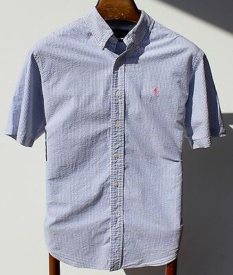 Ralph Lauren L Gentleman's Sky Blue Striped Seersucker Short-Sleeve Shirt