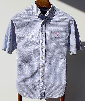 Ralph Lauren L Gentleman's Sky Blue Striped Seersucker Short-Sleeve Shirt