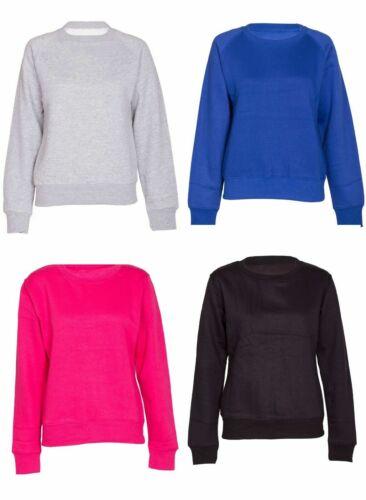 Plain Sweatshirt Soft Crew Neck Fleece Pullover Jumper Top  Womens Ladies New
