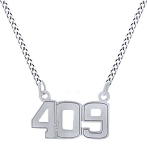 Details about  /409 Number Charm Pendant Necklace 14K Gold Over Sterling Silver
