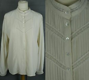 Vintage-Laura-Ashley-Silk-Lace-Blouse-Pleat-Front-Victorian-Steampunk-Edwardian
