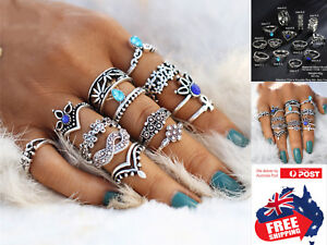 13pcs-Retro-Flower-Women-039-s-Boho-Midi-Finger-Ring-Set-Stack-Above-Knuckle-Jewelry