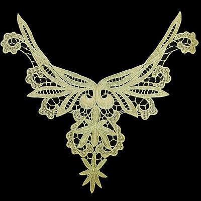 1 Golden Applique Floral Collar Neckline Lace Venice Motif Trendy Sewing Crafts