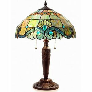 Image Is Loading Tiffany Style Pearl Vintage Table Lamp 2 Light