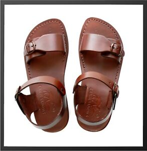 c9210067f4ae5 Image is loading Leather-Jesus-Mens-Brown-Canaan-Sandals-Gladiator-Shoes-