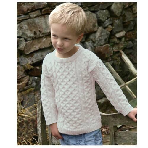 Traditional Aran Crew Neck Sweater Natural