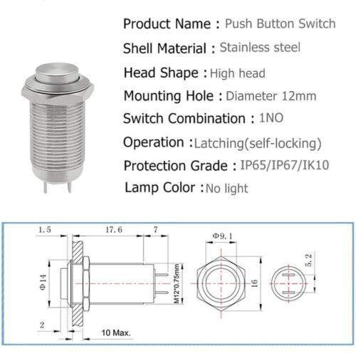 12 mm Acero Inoxidable Cierre Botón Interruptor ON-OFF Impermeable 1NO 3 A 250 V