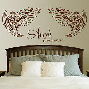 Angel Wall Sticker Angels Watch Over Me Quote Bedroom Lounge Wall