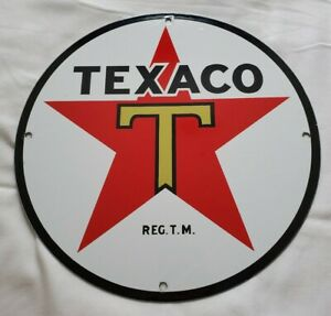 VINTAGE-TEXACO-PETROLEUM-PRODUCTS-11-3-4-034-PORCELAIN-METAL-GASOLINE-amp-OIL-SIGN