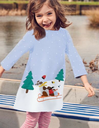 UK Cute Princess Girls Clothes Long Sleeves Baby Kids Dress Animal Print Dresses