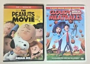 LOT of 2 DVDs (Playtested) The Peanuts Movie & Cloudy With A Chance Of Meatballs