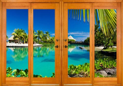 Stickers fenêtre trompe l/'oeil déco Les Tropiques réf 2572 10 dimensions