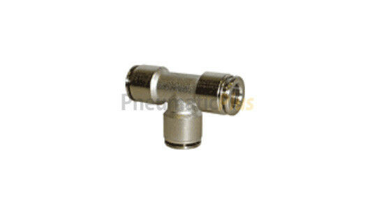 "1/8"" OD Nickel Plated Brass Metal Push In to Connect Tube Fitting Union Tee"