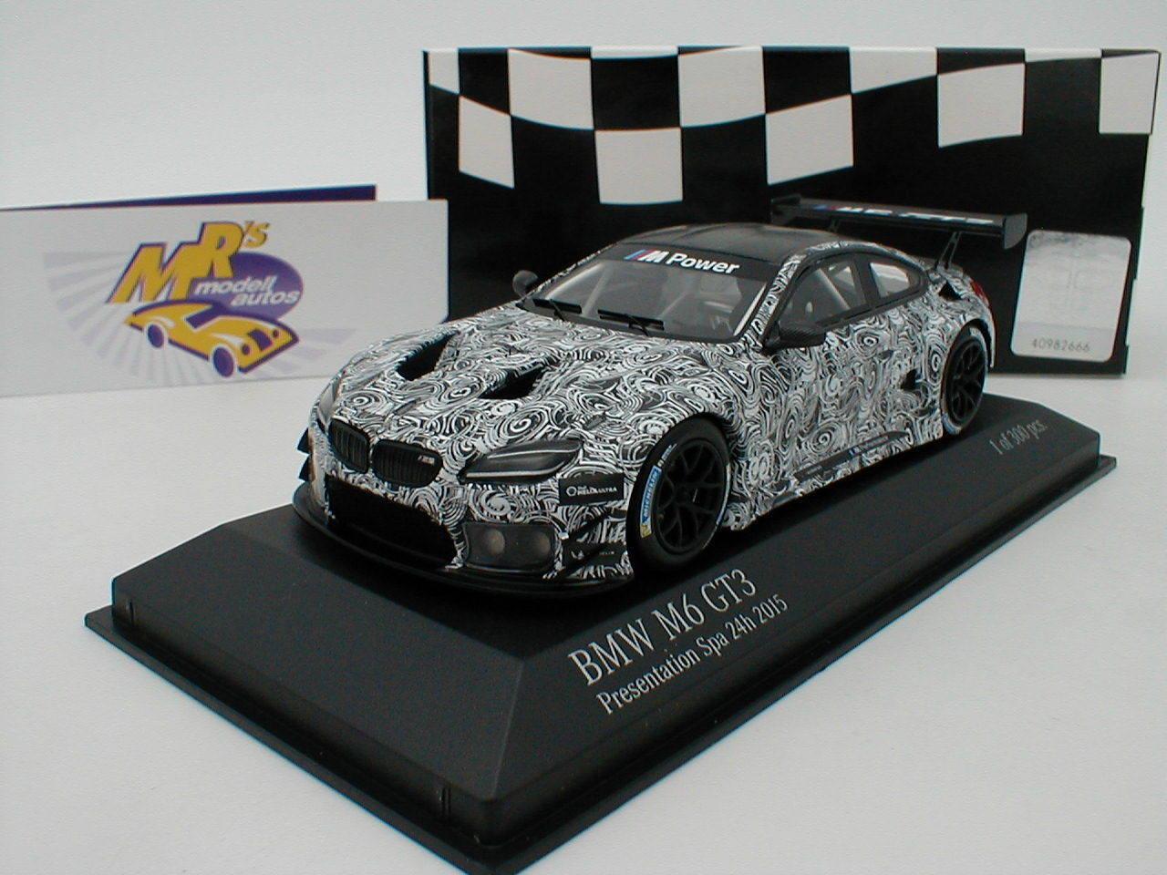Minichamps 437152699 BMW M6 GT3 Presentation Car 24h Spa 2015 white   grey 1 43