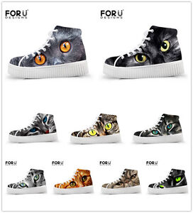 Animal Cat Printing Ladies Ankle Boots Girls Womens Hi Top Trainers Winter Shoes