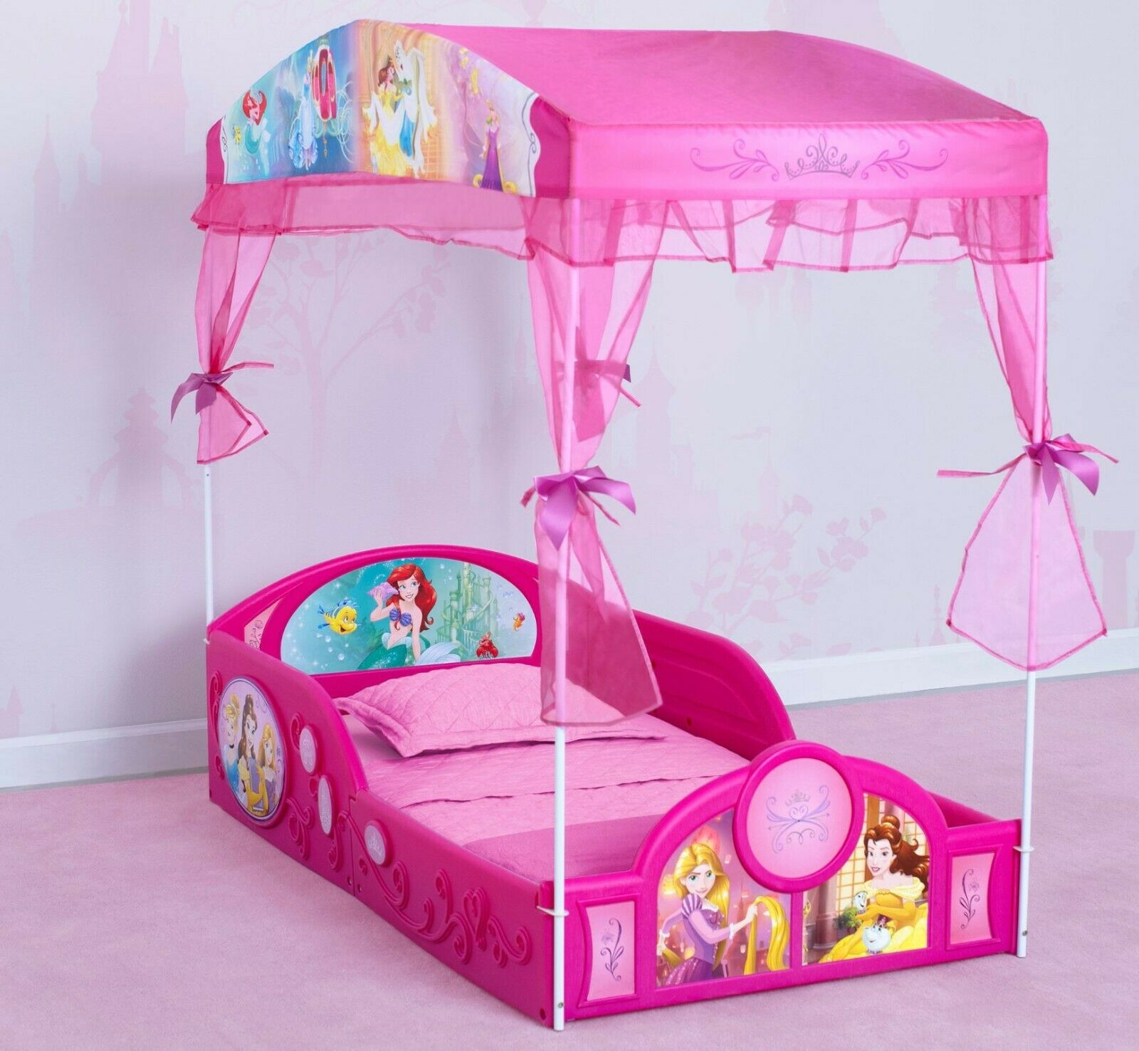 5 Piece Toddler Disney Princess Bed Bedroom Set Furniture Girls Toy Box Table For Sale Online Ebay