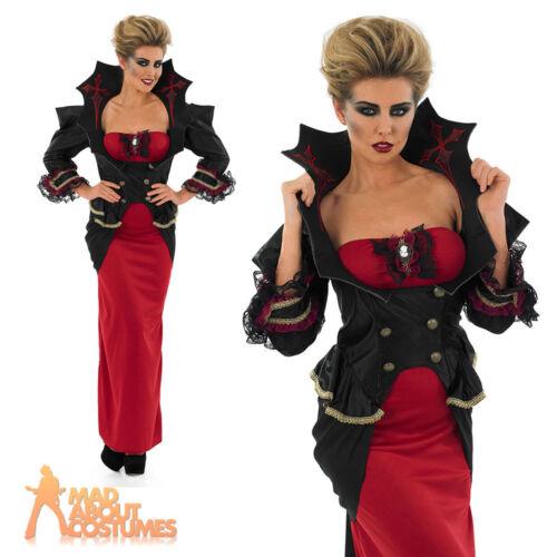 Adult Queen Vampiress Costume Lady Vampire Halloween Fancy Dress Outfit UK 8-30