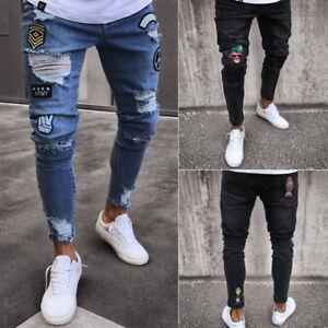 723bd882fae USA Sell Fashion Men Ripped Jeans Destroyed Frayed Pant Slim Denim ...