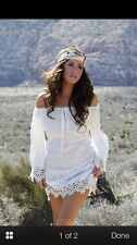 Union Of Angels Lace Cowgirl Dress White Tara  Off-Shoulder Boho