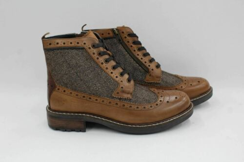 GOODWIN SMITH Men's Tan Brown Leather & Textile Lace Up Ankle Boots UK8 EU42
