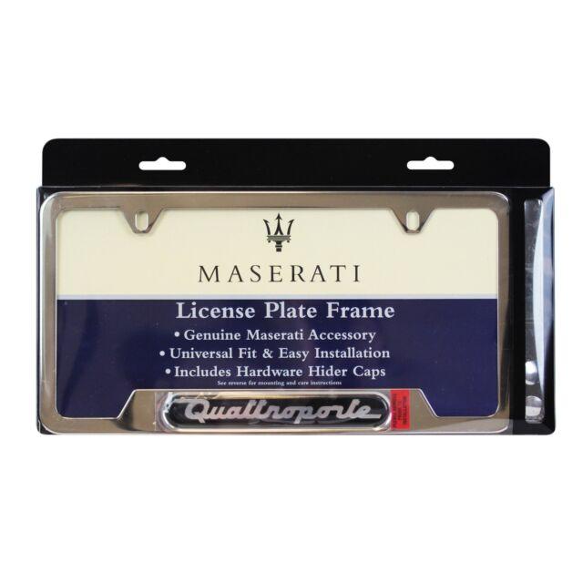 2X Maserati Quattroporte Stainless Steel Black License Plate Frame Rust Free