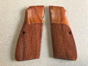 New-Hardwood-Grip-For-Browning-Hi-Power-Handmade-Crafts-Checkered-amp-Finger-grip